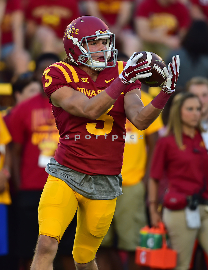 Iowa State Cyclones Jake Rhoads (3) during a game against the Baylor Bears on September 27, 2014 at Jack Trice Stadium in Ames, IA. Baylor beat Iowa State 49-28.