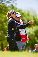 Jessica Korda (USA) talks to her caddie after sinking her putt on 1 during round 4 of  the Volunteers of America Texas Shootout Presented by JTBC, at the Las Colinas Country Club in Irving, Texas, USA. 4/30/2017.<br /> Picture: Golffile | Ken Murray<br /> <br /> <br /> All photo usage must carry mandatory copyright credit (&copy; Golffile | Ken Murray)