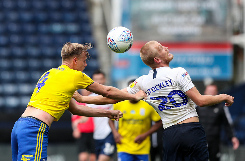 Preston North End's Jayden Stockley battles with Birmingham City's Marc Roberts<br /> <br /> Photographer Alex Dodd/CameraSport<br /> <br /> The EFL Sky Bet Championship - Leeds United v Barnsley - Thursday 16th July 2020 - Elland Road - Leeds<br /> <br /> World Copyright © 2020 CameraSport. All rights reserved. 43 Linden Ave. Countesthorpe. Leicester. England. LE8 5PG - Tel: +44 (0) 116 277 4147 - admin@camerasport.com - www.camerasport.com<br /> <br /> Photographer Alex Dodd/CameraSport<br /> <br /> The EFL Sky Bet Championship - Preston North End v Birmingham City - Saturday 18th July 2020 - Deepdale Stadium - Preston<br /> <br /> World Copyright © 2020 CameraSport. All rights reserved. 43 Linden Ave. Countesthorpe. Leicester. England. LE8 5PG - Tel: +44 (0) 116 277 4147 - admin@camerasport.com - www.camerasport.com