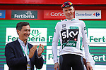 Race leader Christopher Froome (GBR) Team Sky retains the Combined Jersey on the podium at the end of Stage 18 of the 2017 La Vuelta, running 169km from Suances to Santo Toribio de Li&eacute;bana, Spain. 7th September 2017.<br /> Picture: Unipublic/&copy;photogomezsport | Cyclefile<br /> <br /> <br /> All photos usage must carry mandatory copyright credit (&copy; Cyclefile | Unipublic/&copy;photogomezsport)