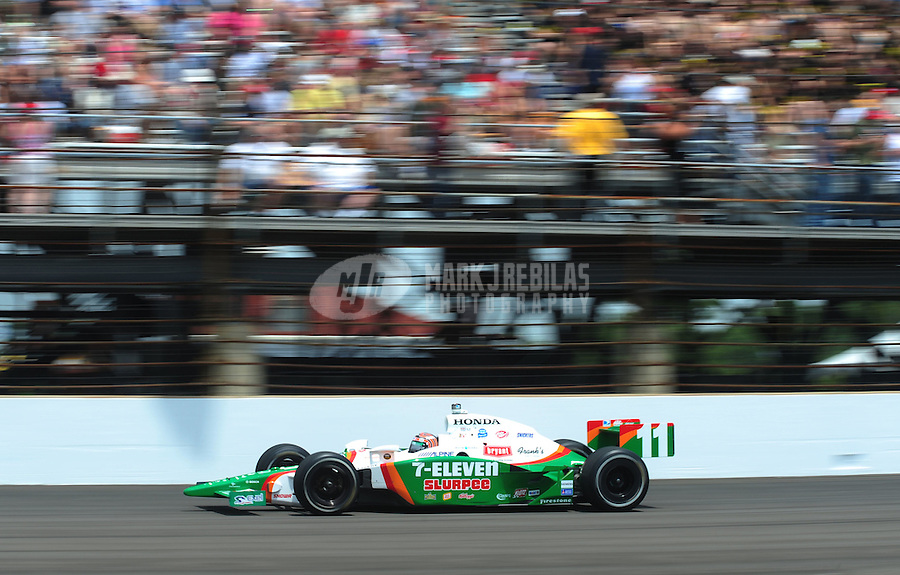 May 25, 2008; Indianapolis, IN, USA; IRL driver Tony Kanaan during the 92nd running of the Indianapolis 500 at the Indianapolis Motor Speedway. Mandatory Credit: Mark J. Rebilas-