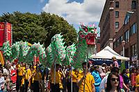 Green Dragon Dance, Dragon Fest 2015, Chinatown, Seattle, Washington, USA.