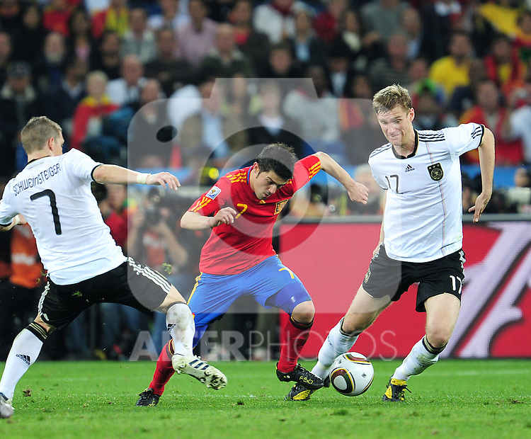 David Villa in action during the 2010 FIFA World Cup South Africa Semi Final match between Germany and Spain at the Moses Mabhida  Stadium on July 7, 2010 in Durban, South Africa.
