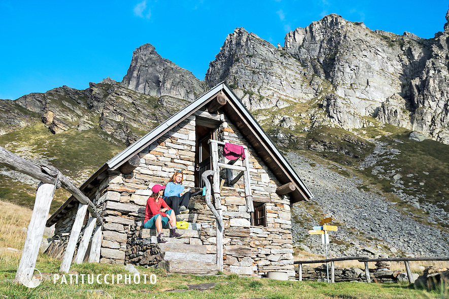 The Via Alta Verzasca is a five day ridge traverse hike above the Valle Verzasca in the Ticino region of Switzerland. At the Capanna Borgna, the first hut on the route.