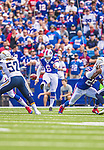21 September 2014: Buffalo Bills punter Colton Schmidt kicks to the San Diego Chargers in the first quarter at Ralph Wilson Stadium in Orchard Park, NY. The Chargers defeated the Bills 22-10 in AFC play. Mandatory Credit: Ed Wolfstein Photo *** RAW (NEF) Image File Available ***