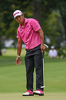 Hideki Matsuyama (JPN) reacts to barely missing his long birdie putt on 3 during Rd3 of the 2019 BMW Championship, Medinah Golf Club, Chicago, Illinois, USA. 8/17/2019.<br /> Picture Ken Murray / Golffile.ie<br /> <br /> All photo usage must carry mandatory copyright credit (© Golffile   Ken Murray)