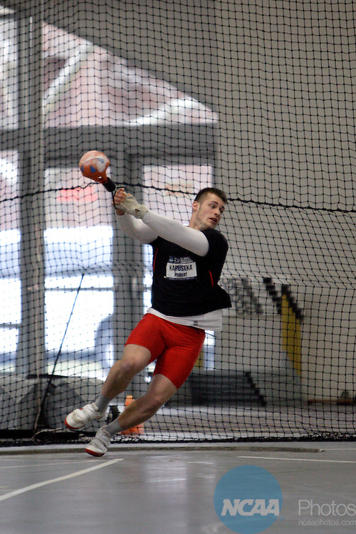 11 MAR 2011: Robert Kapustka of North Central College throws during the the Division III Men's and Women's Indoor Track and Field Championships held at the Capital Center Fieldhouse on the Capital University campus in Columbus, OH.  Jay LaPrete/NCAA Photos
