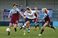 Tessel Middag  and Grace Fisk of West Ham United women ensure Kit Graham of Tottenham Hotspur women doesn't get away during Tottenham Hotspur Women vs West Ham United Women, Barclays FA Women's Super League Football at the Hive Stadium on 12th January 2020