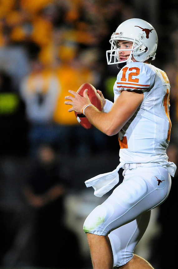 04 October 2008: Texas quarterback Colt McCoy looks for an open receiver against Colorado. The Texas Longhorns defeated the Colorado Buffaloes 38-14 at Folsom Field in Boulder, Colorado. For Editorial Use Only
