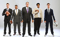 NWA Democrat-Gazette photo illustration/ANDY SHUPE<br /> Taylor Powell (from left) of Fayetteville, Northwest Arkansas Democrat-Gazette Coach of the Year; Noah Dotson, Northwest Arkansas Democrat-Gazette Offensive Player of the Year; Bill Blankenship of Fayetteville, Northwest Arkansas Democrat-Gazette Coach of the Year; Oliver Nasilai of Springdale Har-Ber, Northwest Arkansas Democrat-Gazette Defensive Player of the Year; and Will Jarrett of Bentonville West, Northwest Arkansas Democrat-Gazette Newcomer of the Year. Wednesday, Dec. 14, 2016.
