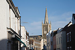 Historic buildings and church spire in Harwich, Essex, England