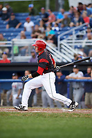 Batavia Muckdogs first baseman Ben Fisher (36) at bat during a game against the Tri-City ValleyCats on July 14, 2017 at Dwyer Stadium in Batavia, New York.  Batavia defeated Tri-City 8-4.  (Mike Janes/Four Seam Images)