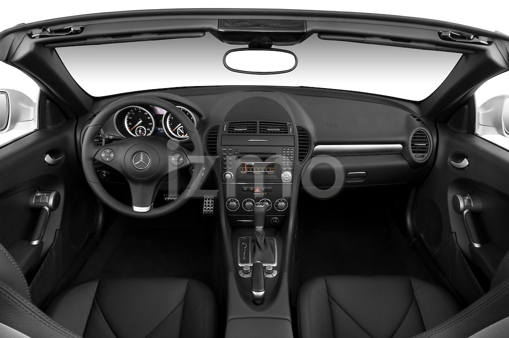 Straight dashboard view of a 2009 Mercedes SLK Class 350.