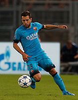 Calcio, Champions League, Gruppo E: Roma vs Barcellona. Roma, stadio Olimpico, 16 settembre 2015.<br /> FC Barcelona&rsquo;s Jordi Alba in action during a Champions League, Group E football match between Roma and FC Barcelona, at Rome's Olympic stadium, 16 September 2015.<br /> UPDATE IMAGES PRESS/Riccardo De Luca<br /> <br /> *** ITALY AND GERMANY OUT ***