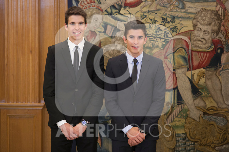 Marc Marquez (R) and Alex Marquez during Royal Audience with King Felipe VI of Spain at Zarzuela Palace in Madrid, Spain. November 20, 2014. (ALTERPHOTOS/Victor Blanco)