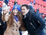Michael Mols getting a selfie with a Rangers fan