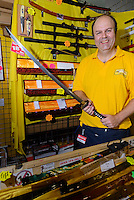 Adrian Cordrey, owner of The Sword Stall, Hyper Japan 2014, Earls Court, London, UK, July 25, 2014. Hyper Japan is the UK's largest Japanese culture event. It took place at the Earls Court exhibition space from 25 to 27 July 2014.