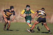 Rhian McGill goes for the gap between Chay Mackwood and Liam Daniela. Counties Manukau Premier Club Rugby game between Bombay and Pukekohe, played at Bombay on Saturday June 30th 2018.<br /> Bombay won the game 24 - 14 after leading 24 - 0 at halftime.<br /> Bombay 24 - Sepuloni Taufa, Tulele Masoe, Chay Mackwood, Liam Daniela tries, Ki Anufe 2 conversions.<br /> Pukekohe Mitre 10 Mega 14 - Joshua Baverstock, Gregor Christie tries; Cody White 2 conversions.<br /> Photo by Richard Spranger.