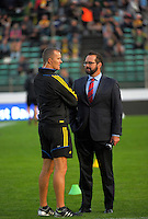 Richard Watt chats with Scotty Stevenson during the Super Rugby match between the Hurricanes and Force at CET Stadium, Palmerston North, New Zealand on Friday, 18 March 2016. Photo: Dave Lintott / lintottphoto.co.nz