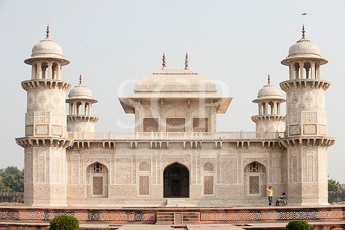 Agra, Utar Pradesh, India. Baby Taj. Breathtaking architecture with finely detailed parchin kari semi-precious stone inlay work and pierced lattice carved jali screens in white marble.