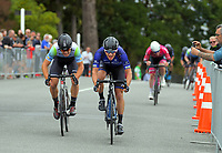 Aaron Gate of New Zealand/Black Spoke Pro Cycling Academy beats Jensen Plowright of Australia/Team BridgeLane to the line. Day one of the NZ Cycle Classic UCI Oceania Tour in Wairarapa, New Zealand on Wednesday, 15 January 2020. Photo: Dave Lintott / lintottphoto.co.nz