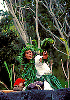 A hula kahiko (ancient hula style) performer wearing a traditional ti leaf skirt and palapalai fern haku lei (headpiece) chants a story for visitors at Volcanoes National Park on the Big Island of Hawaii.