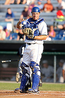 July 6th 2008:  Catcher Joel Collins of the Auburn Doubledays, Class-A affiliate of the Toronto Blue Jays, during a game at Falcon Park in Auburn, NY.  Photo by:  Mike Janes/Four Seam Images