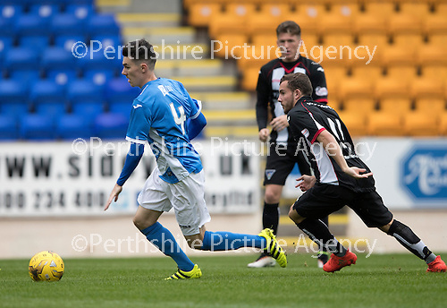 St Johnstone v Dunfermline…23.08.16   SPFL Development League<br />Eoghan McCawl gets away from Paul McMullan<br />Picture by Graeme Hart.<br />Copyright Perthshire Picture Agency<br />Tel: 01738 623350  Mobile: 07990 594431