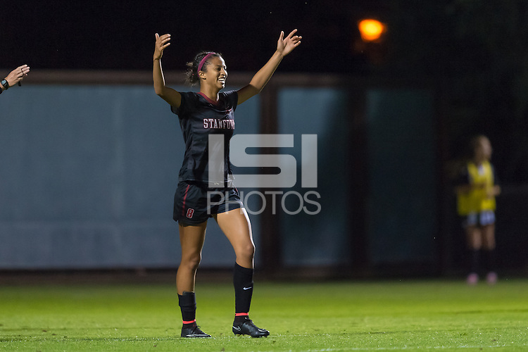 STANFORD, CA - October 3, 2014:  Ryan Walker-Harthorn celebrate's one of her three goals during the Stanford vs Washington women's soccer match in Stanford, California.  The Cardinal defeated the Huskies 4-1.