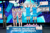 18th March 2018, Arena Birmingham, Birmingham, England; Yonex All England Open Badminton Championships; Kamilla Rytter Juhl (DEN) and Christinna Pedersen (DEN) step onto the podium as winners of the womens doubles  final