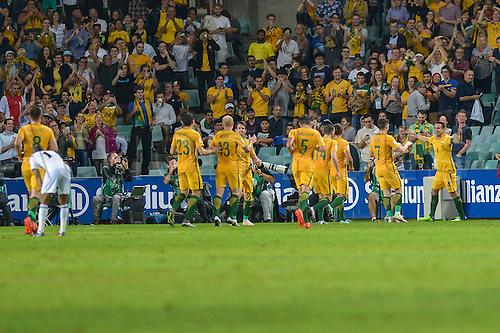 29.03.2016. Allianz Stadium, Sydney, Australia. Football 2018 World Cup Qualification match Australia versus Jordan.  Australian forward Tim Cahill celebrates as he scores. Australia won 5-1.