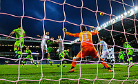 Blackburn Rovers' Derrick Williams and Darragh Lenihan compete in the air with Norwich City's Christoph Zimmermann<br /> <br /> Photographer Alex Dodd/CameraSport<br /> <br /> The EFL Sky Bet Championship - Blackburn Rovers v Norwich City - Saturday 22nd December 2018 - Ewood Park - Blackburn<br /> <br /> World Copyright © 2018 CameraSport. All rights reserved. 43 Linden Ave. Countesthorpe. Leicester. England. LE8 5PG - Tel: +44 (0) 116 277 4147 - admin@camerasport.com - www.camerasport.com