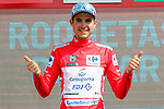 Rudy Molard (FRA) Groupama-FDJ takes over the race leaders Red Jersey at the end of Stage 5 of the La Vuelta 2018, running 188.7km from Granada to Roquetas del Mar, Andalucia, Spain. 29th August 2018.<br /> Picture: Unipublic/Photogomezsport | Cyclefile<br /> <br /> <br /> All photos usage must carry mandatory copyright credit (&copy; Cyclefile | Unipublic/Photogomezsport)