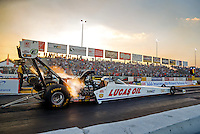 Sep 23, 2016; Madison, IL, USA; NHRA top fuel driver Richie Crampton during qualifying for the Midwest Nationals at Gateway Motorsports Park. Mandatory Credit: Mark J. Rebilas-USA TODAY Sports
