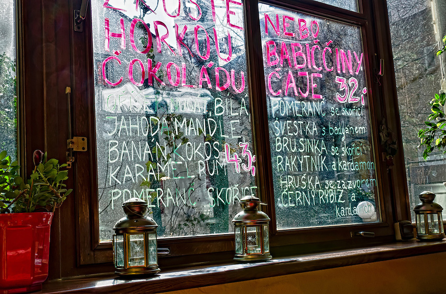 BRNO, CZECH REPUBLIC - MARCH 5th 2011: Photo of a window with a menu in a Bar in Brno. Brno is the 2nd largest city in the Czech Republic and a very popular tourist destination. EDITORIAL USE ONLY.