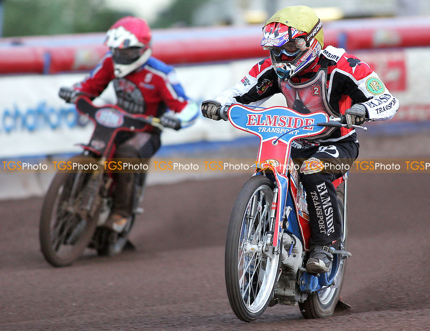 Heat 1 - Wright (yellow), Shields - Lakeside Hammers vs Belle Vue Aces - Elite League Speedway at Arena Essex - 04/07/07 - MANDATORY CREDIT: Gavin Ellis/TGSPHOTO - SELF-BILLING APPLIES WHERE APPROPRIATE. NO UNPAID USE -  Tel: 0845 0946026