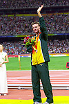 Australia's Heath Francis breaks the world record on his way to winning gold in the men's T46 400m final at the Beijing Paralympic Games, in a time of 47.69 seconds.