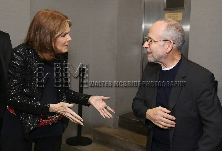 """Gloria Steinem and Bob Balaban attends the Opening Night Performance of """"Gloria: A Life"""" on October 18, 2018 at the Daryl Roth Theatre in New York City."""