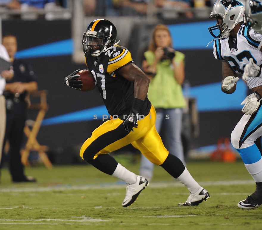 JONATHAN DWYER, of the Pittsburgh Steelers, in action during the Steelers game against the Carolina Panthers on September 1, 2011 at Bank of America Stadium in Charlotte, NC. The Steelers beat the Panthers 33-17.