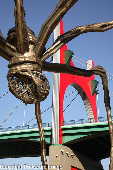 Puente de la Salve Bridge by Buren and Spider Sculpture by Elizabeth Bourgeois, Bilbao, Basque Country, Spain