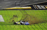 Oct. 17, 2009; Concord, NC, USA; NASCAR Sprint Cup Series driver Jimmie Johnson celebrates after winning the NASCAR Banking 500 at Lowes Motor Speedway. Mandatory Credit: Mark J. Rebilas-
