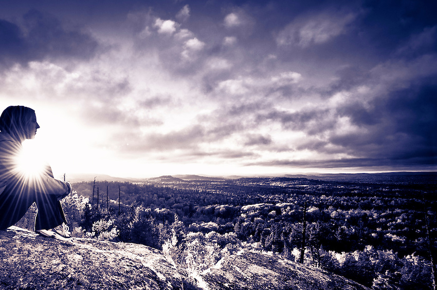 Split tone edit of trail running atop Hogback Mountain near Marquette, Michigan on Michigan's Upper Peninsula.