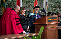 President Jonathan Veitch and Professor Anthony Chase confer an Honorary Degree to speaker Sara El-Amine '07<br />