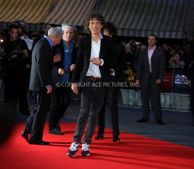 WWW.ACEPIXS.COM....US Sales Only....October 18 2012, New York City....Mick Jagger at the premiere of 'Crossfire Hurricane' at the BFI London Film Festival on October 18 2012 in New York City....By Line: Famous/ACE Pictures......ACE Pictures, Inc...tel: 646 769 0430..Email: info@acepixs.com..www.acepixs.com