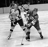 Atlanta Flames #16 Bob Leiter and the Seals Joey Johnston..(1972 photo/Ron Riesterer)