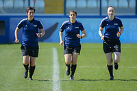 20190301 - LARNACA , CYPRUS : German assistant referee Katrin Rafalski (left) , German referee Riem Hussein (middle) and Scottish assistant referee Kylie Cockburn (right) pictured during a women's soccer game between Slovakia and Nigeria , on Friday 1 March 2019 at the Antonis Papadopoulos Stadium in Larnaca , Cyprus . This is the second game in group C for both teams during the Cyprus Womens Cup 2019 , a prestigious women soccer tournament as a preparation on the Uefa Women's Euro 2021 qualification duels and FIFA Women's World Cup 2019 in France . PHOTO SPORTPIX.BE | STIJN AUDOOREN