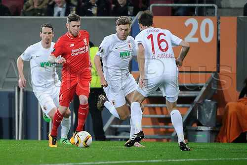 18.02.2016. Augsburg, Germany. UEFA Europa League football. Augsburg versus Liverpool FC.  Alberto Moreno (Liverpool FC)  covered by Janker
