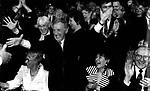 Noel C Duggan celebrates after Niamh Kavanagh wins Eurovision Song Contest in Millstreet in 1993..Picture by Don MacMonagle