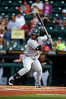 Lakeland Flying Tigers left fielder Christin Stewart (20) at bat during a game against the Bradenton Marauders on April 16, 2016 at McKechnie Field in Bradenton, Florida.  Lakeland defeated Bradenton 7-4.  (Mike Janes/Four Seam Images)