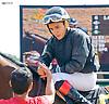 Dancing Lion with Nik Juarez aboard after winning at Delaware Park on 10/7/15